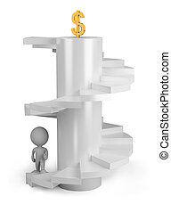 3d p?rs?n on the stairs - 3d p?rs?n climbs the stairs to the...
