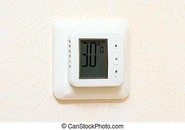 aquecimento, esfriando, digital, parede, painel,...