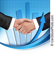 Handshake between business people with a graph in the...