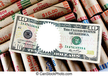 Blank Space Over Ten Dollar Bill On Coin Wraps