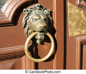 Door handle in the form of a bronze lion's head with a ring