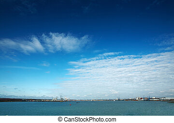 sea scape from boat from southampton traveling down to the...