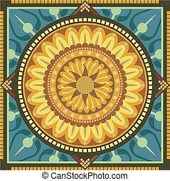 Floral Mandala - Concentric spiritual mandala pattern with...