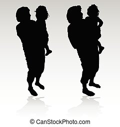 grandmother holding a little girl black silhouette