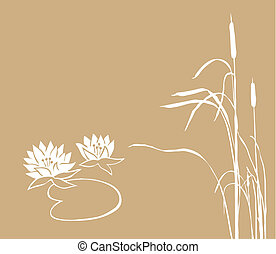 water lily and reed on brown background, vector illustration