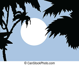tropical landscape with palm on foregrounds, vector...