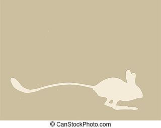 jerboa silhouette on brown background, vector illustration
