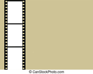 camera film on brown background, vector illustration