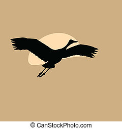 crane in sky on solar background, vector illustration