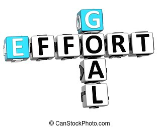 3D Goal Effort Crossword on white background