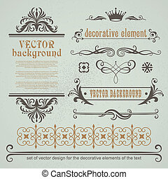 Set of decorative calligraphic elements - Vector set...