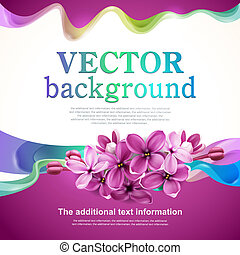 Abstract design with lilac flowers - Vector background for...