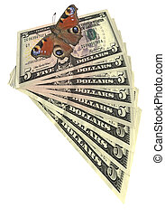 butterfly, heap, dollars isolated, savings wealth