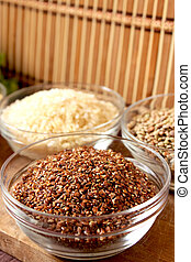 flaxseed - transparent bowl with healthy and nutritious...