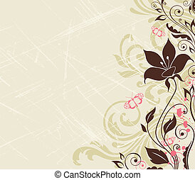 Scratched floral background