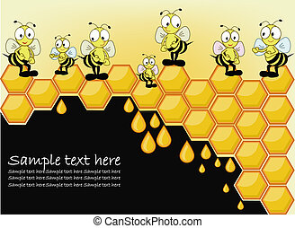 Postcard with a bee honeycombs - Bees with honeycombs on the...