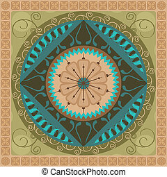 Vegetal Mandala - Concentric spiritual mandala pattern with...