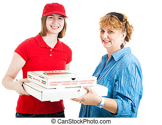 Fresh Hot Pizza Delivered - Customer getting pizza delivered...