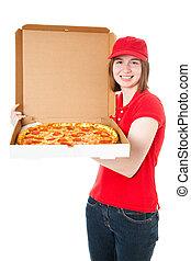 Teen Girl Delivering Pizza - Teenage girl delivering fresh,...