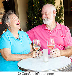 Senior Couple on Date - Laughing - Senior couple on a date,...