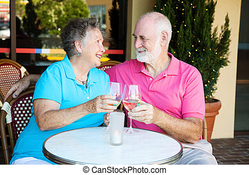 Seniors on Romantic Date - Senior couple on a romantic date,...