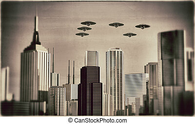ufo in formations - ufo flying in formation over skyscrapers