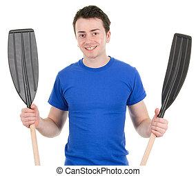 Guy holding oars