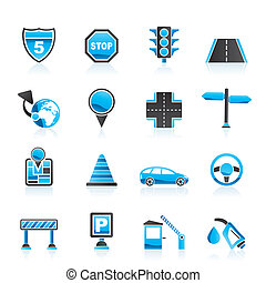 Traffic, road and travel icons - vector icon set