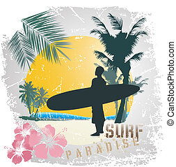 surf paradise - illustration for shirt printed and poster