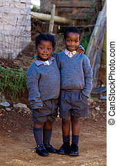 Two kids - On the way to school