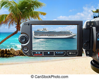 Cruise Ship on Camera Screen