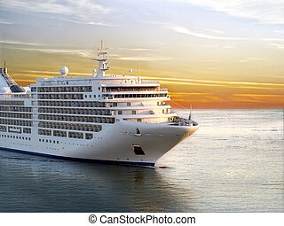 Cruise Ship - Luxury cruise ship sailing from port on sunset...