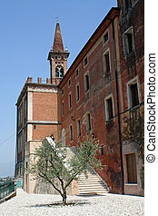 Friary with the bell tower of the church