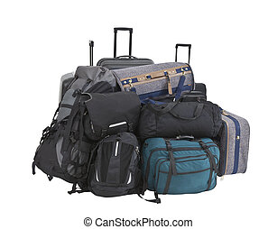 Big Pile of Luggage Isolated - Large pile of suitcases,...