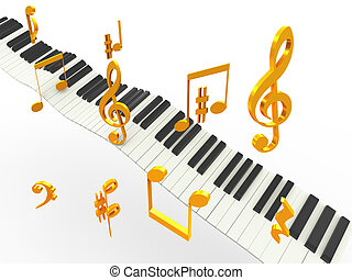Golden superhit music - 3d music piano keys with golder...