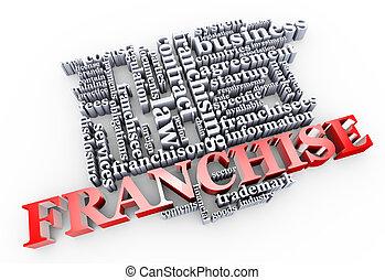 3d franchise wordcloud - 3d render of franchise word cloud