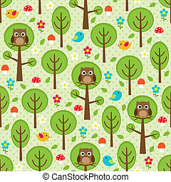 Forest seamless - Seamless forest pattern with owls, birds,...