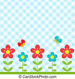 Flowers and butterflies - Background with flowers and flying...