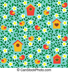 Birds and flowers - Birds and birdhouses among flowers and...