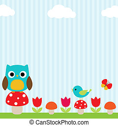 Owl background - Bright background with owl, bird,...