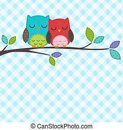 couple of owls - Vector backgrounds with couple of owls on...