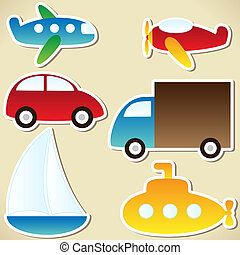 Transport set - cartoon car, truck, submarine, ship, plane