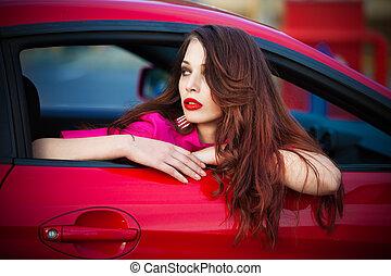 coche, mujer