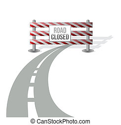 Closed road illustration design over white background