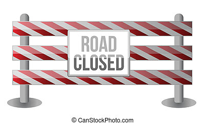 Single Road Closed Barrier illustration design over white...