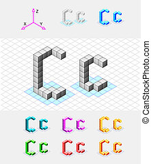 Isometric font from the cubes