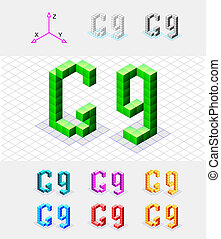 Isometric font from the cubes.Letter G. Vector