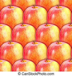 Seamless pattern of fresh red-yellow apples - Abstract...