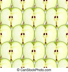 Seamless pattern with slices of green apple - Abstract...