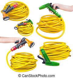 Equipment for watering garden. Hose and spray gun isolated...